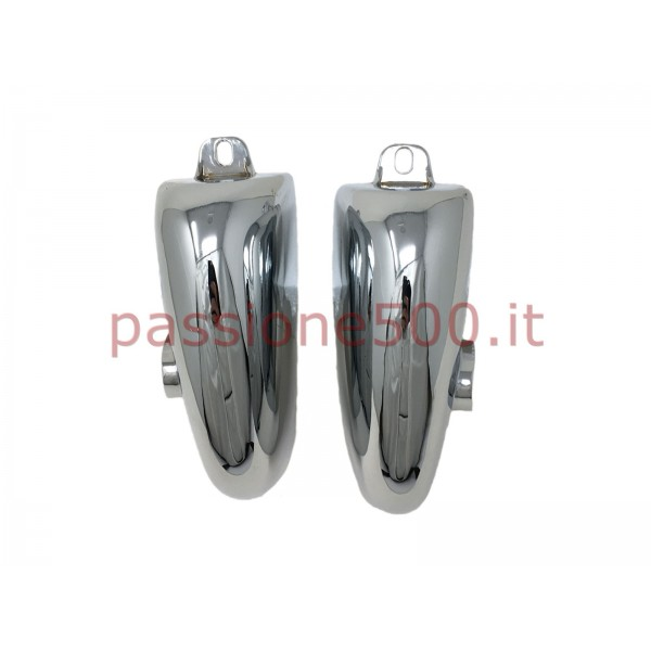 PAIR OF CHROMED HORN FOR FRONT BUMPER AUTOBIANCHI BIANCHINA TRAFORMABILE 1° & 2° SERIES