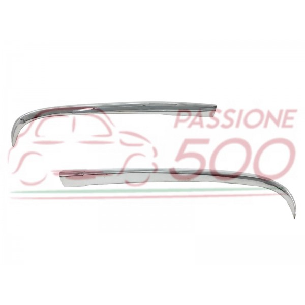 PAIR OF CHROMED METAL WINF FOR FRONT EMBLEM AUTOBIANCHI BIANCHINA CABRIO EDEN ROC