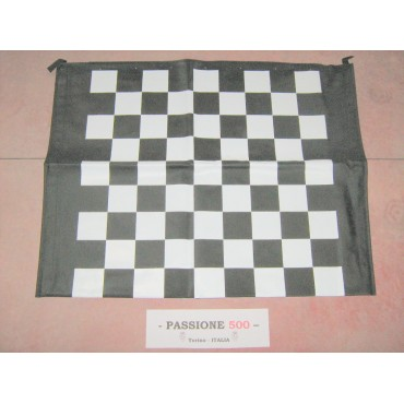 BLACK AND WHITE CHESSBOARD FOLDING TOP COVER FIAT 500 F L R