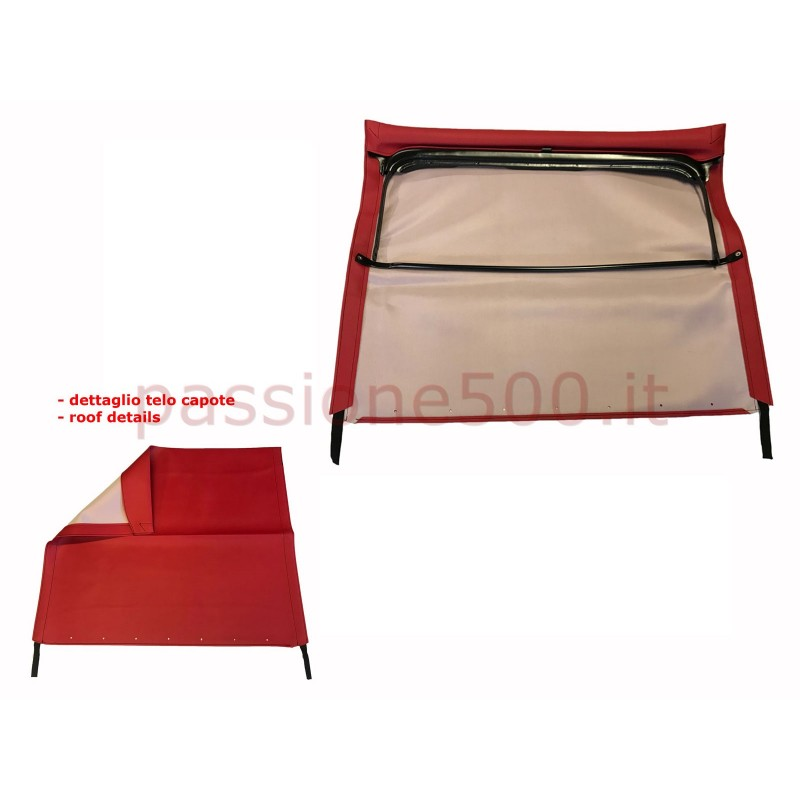 RED FOLDING TOP COVER WITH CHASSIS FIAT 500 F L R