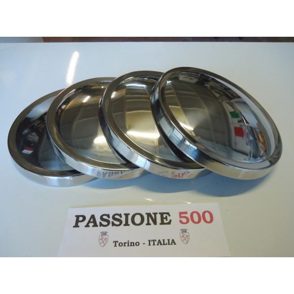 KIT OF 4 INOX STEEL WHEEL CAP AUTOBIANCHI 500 GIARDINIERA PANORAMICA