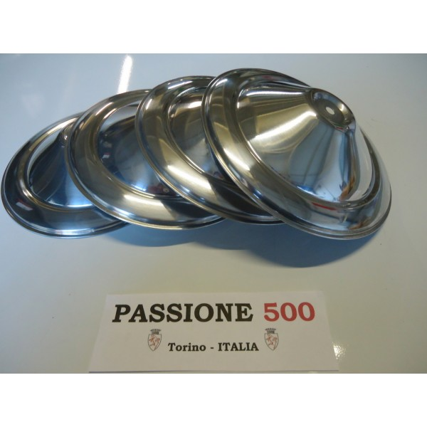 KIT OF 4 ALUMINIUM WHEEL CAP FIAT 500 N D F - AUTOBIANCHI TRASFORMABILE 1°SERIES