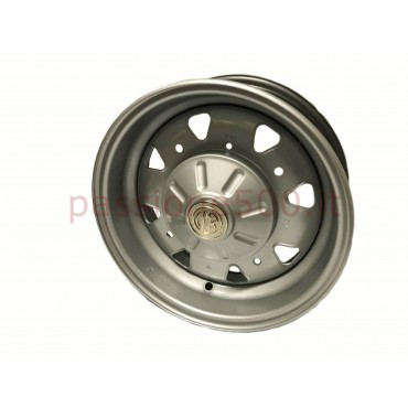 CMR STEEL WHELL 4.5'' R12 WITH CHROMED EMBLEM - FIAT 500