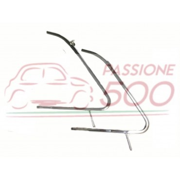 COUPLE OF CHROMED VENT WINDOW FRAME FIAT 500 D F L R GIARD - HIGH QUALITY