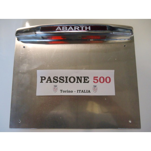 ABARTH LICENSE PLATE REAR FRAME IN ALUMINIUM WITH LIGHT FIAT 500