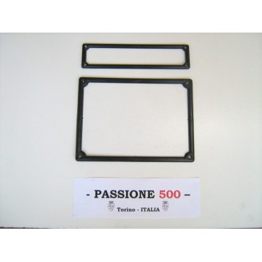 LICENSE PLATE FRONT AND REAR FRAME KIT IN BLACK PLASTIC FIAT 500
