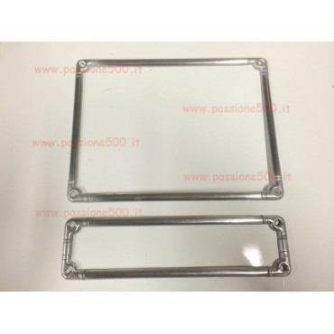 LICENSE PLATE FRONT AND REAR FRAME KIT IN ALUMINIUM - HIGH QUALITY - FIAT 500