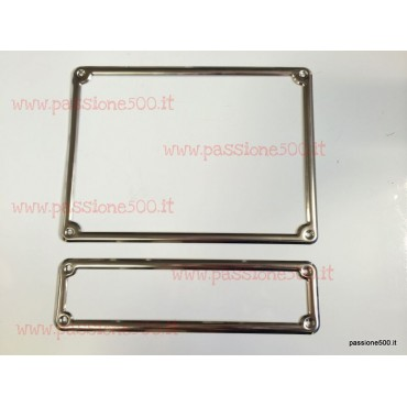 LICENSE PLATE FRONT AND REAR FRAME KIT IN INOX STEEL - HIGH QUALITY - FIAT 500