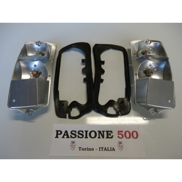 COUPLE OF LAMP SUPPORT AND GASKET FOR TAIL LAMPS FIAT 500 F L R