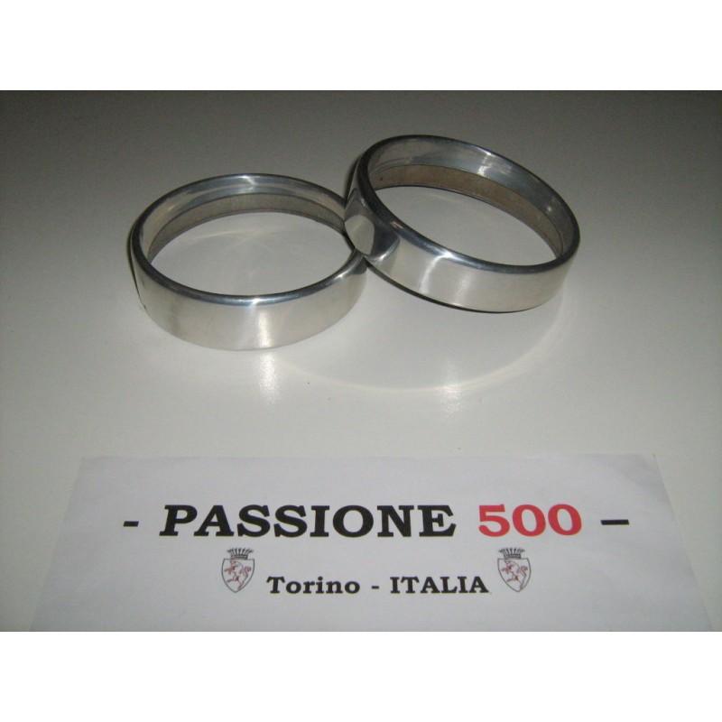 COUPLE OF ALUMINIUM FRAME FOR HEADLAMPS FIAT 500 N D