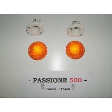 COUPLE OF ORANGE FRONT LAMP FIAT 500 F L R GIARD