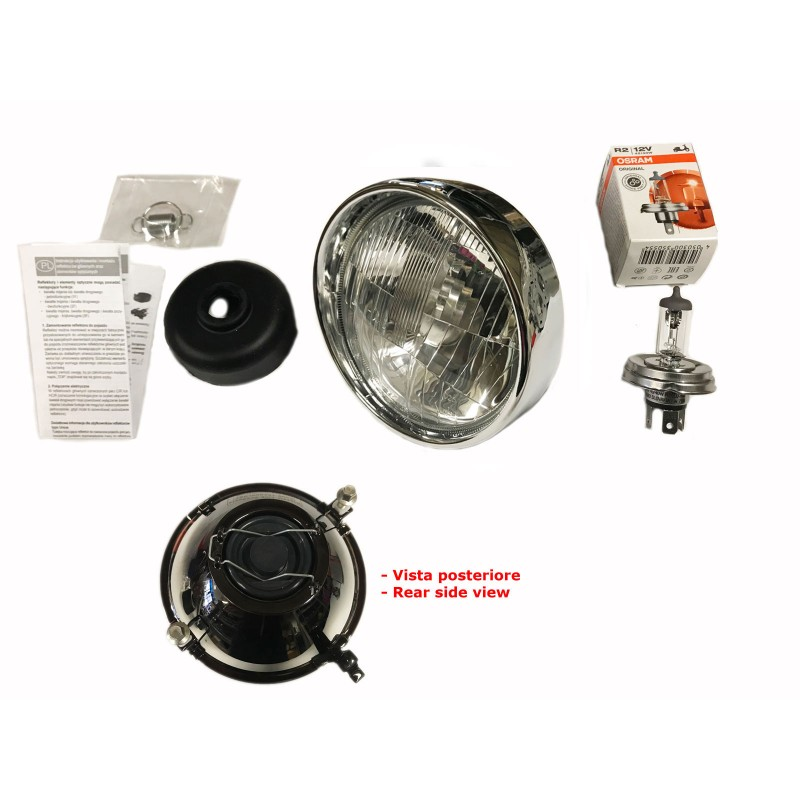 COMPLETE HIGH QUALITY HEADLAMP WITH CHROMED RING - WITH ALOGEN BULB FIAT 500 F L R GIARD