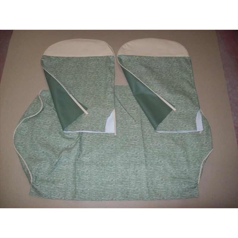 COMPLETE GREEN STRIPED SEAT COVERS FIAT 500 F until 1968