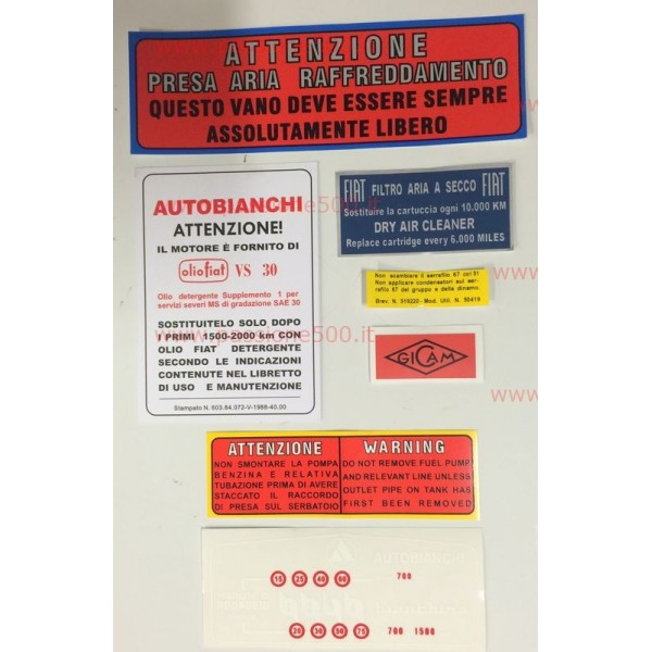 STICKERS KIT FOR ENGINE AND VARIOUS AUTOBIANCHI 500 GIARDINIERA AND BIANCHINA - HIGH QUALITY