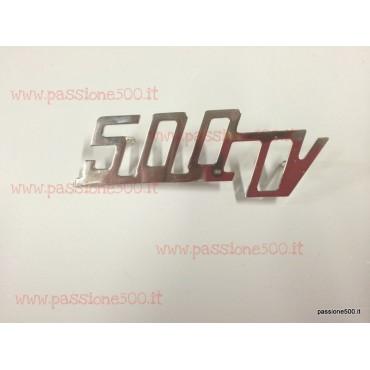 GIANNINI EMBLEM 500TV IN CHROMED METAL FOR REAR BONNET 88x30 mm FIAT 500