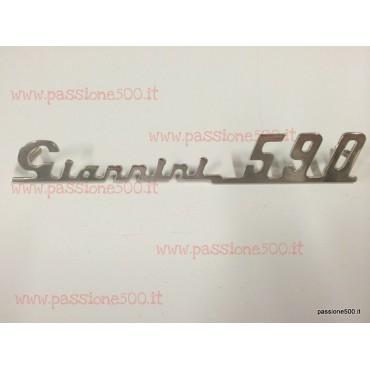 GIANNINI 590 EMBLEM IN CHROMED METAL FOR DASHBOARD 140x20 mm FIAT 500