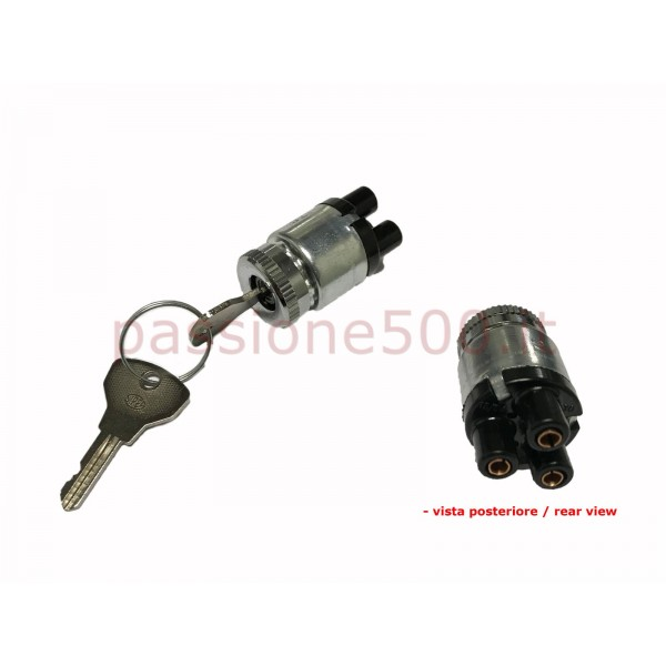 SIPEA ORIGNAL ENGINE STARTING SWITCH WITH CHROMED RING - ROUND CONNECTORS - FIAT 500 N D F
