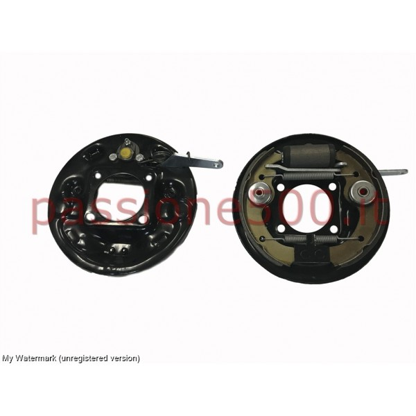 PAIR OF COMPLETE REAR BRAKE SHOE PLATE FIAT 500 N D F L R