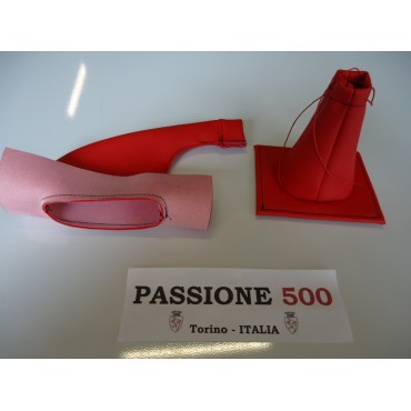 RED LEATHER CAP KIT HANDBRAKE AND GEAR LEVER FIAT 500
