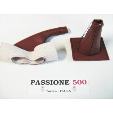 DARK RED LEATHER CAP KIT HANDBRAKE AND GEAR LEVER FIAT 500