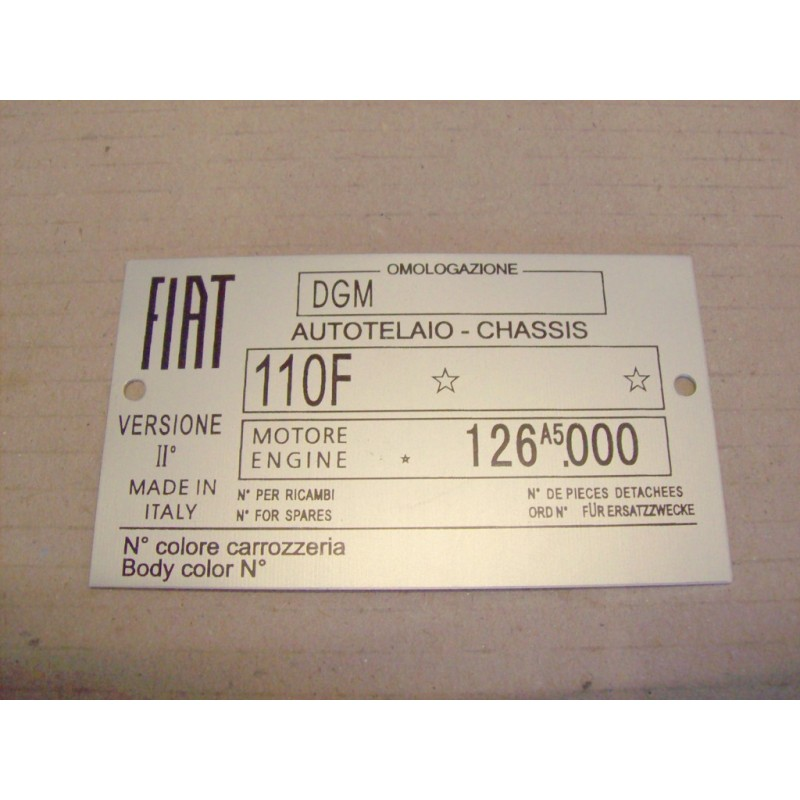CAR IDENTIFICATION PLATE FOR FIAT 500 R