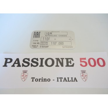CAR IDENTIFICATION PLATE FOR FIAT 500 L