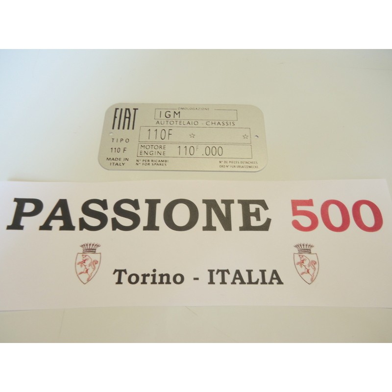 CAR IDENTIFICATION PLATE FOR FIAT 500 F