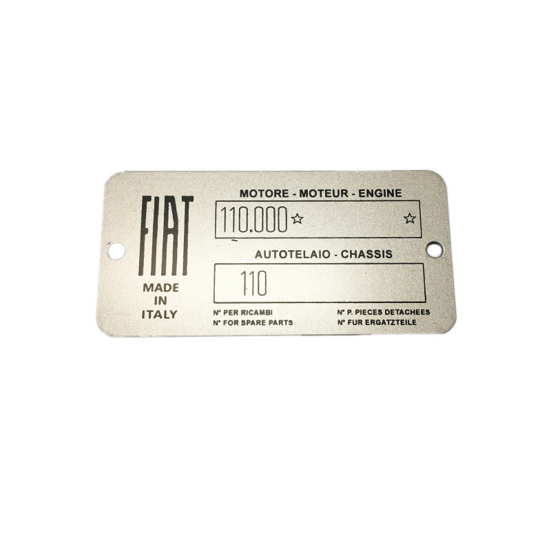 CAR IDENTIFICATION PLATE FOR FIAT 500 N