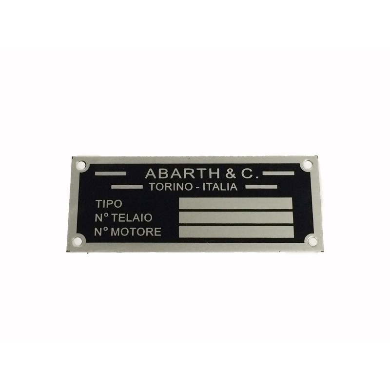 ABARTH CAR IDENTIFICATION PLATE FOR FIAT 500