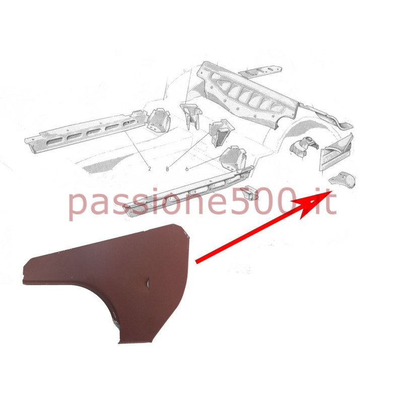 CONNECTION BETWEEN ARCH WHEEL AND LEFT REAR INNER ROCKER PANEL FOR FIAT 500 N D
