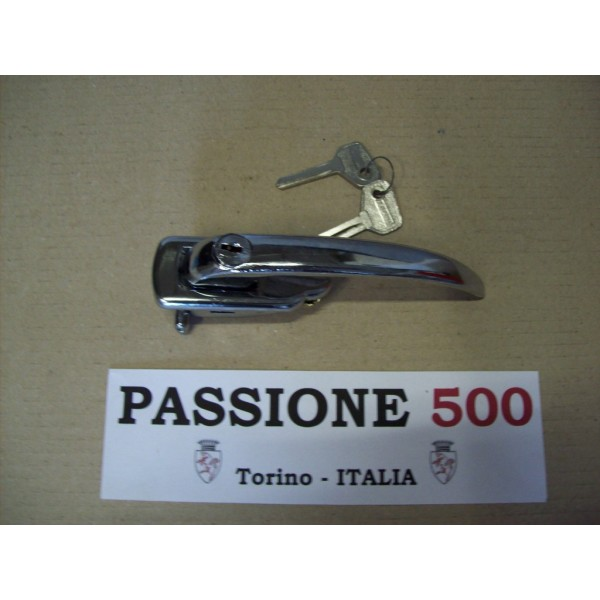LEFT CHROME DOOR HANDLE WITH KEYS FOR AUTOBIANCHI 500 GIARD