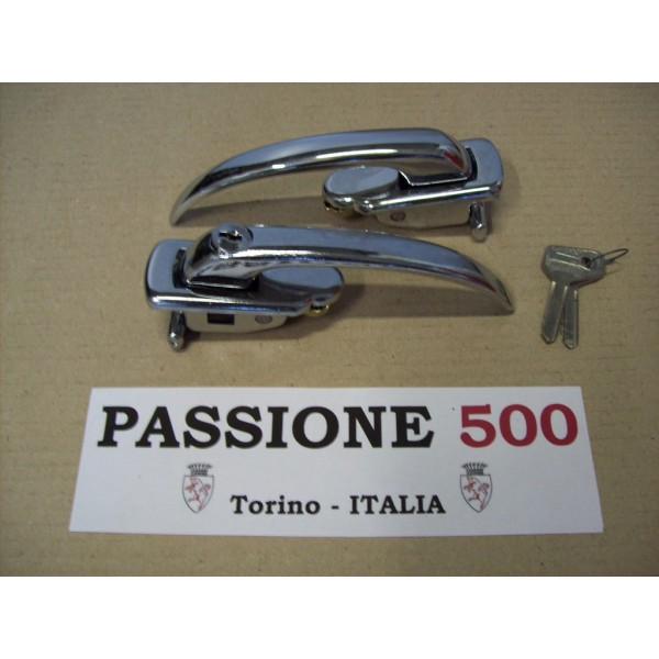 COUPLE OF ALUMINIUM DOOR HANDLE WITH KEYS FOR FIAT 500 N D GIARD
