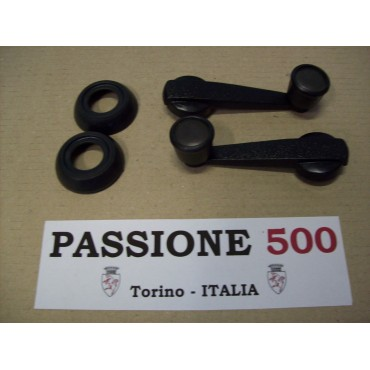 COUPLE OF WINDOW LIFT HANDLES WITH BLACK RINGS FIAT 500 R