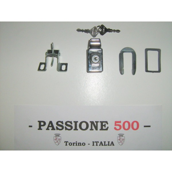 ENGINE HOOD CHROME RECTANGULAR LOCK FIAT 500
