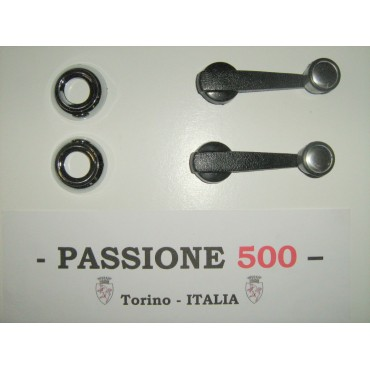 COUPLE OF WINDOW LIFT HANDLES WITH CHROME RINGS FIAT 500 L