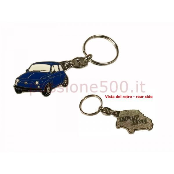 METAL KEY CHAIN FIAT 500 BLUE