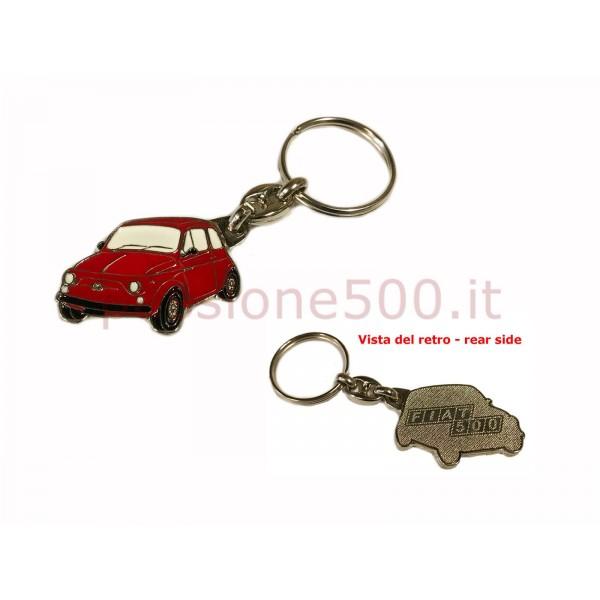 METAL KEY CHAIN FIAT 500 RED