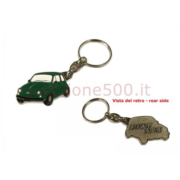 METAL KEY CHAIN FIAT 500 GREEN