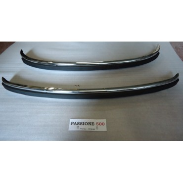 COUPLE OF BUMPER IN CHROMED STEEL WITH RUBBER STRIP FIAT 500 N D F L R