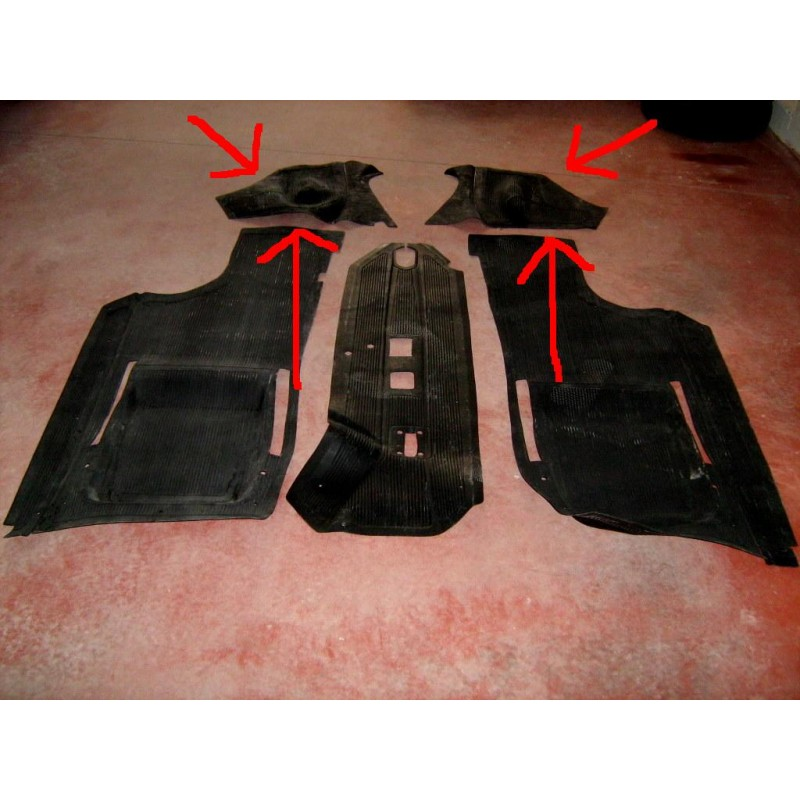 FRONT WHEEL HOUSING RUBBER FLOOR MATS FIAT 500 F R