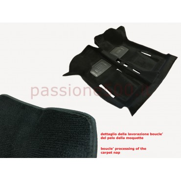 BLACK INTERIOR MOULDED CARPET IN MOQUETTE ORIGINAL TYPE FIAT 500 - HIGH QUALITY