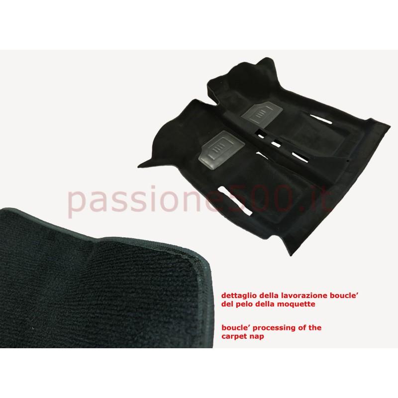 BLACK INTERIOR MOULDED CARPET IN MOQUETTE ORIGINAL TYPE FIAT 500 - HIGH QUALITY