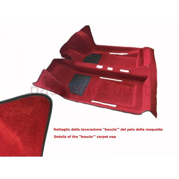 DARK RED INTERIOR MOULDED CARPET IN MOQUETTE ORIGINAL TYPE FIAT 500 - HIGH QUALITY
