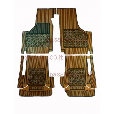 SET OF ADDITIONAL RUBBER CARPET FLOOR MATS IN OCHER COLOR FIAT 500 D F L R