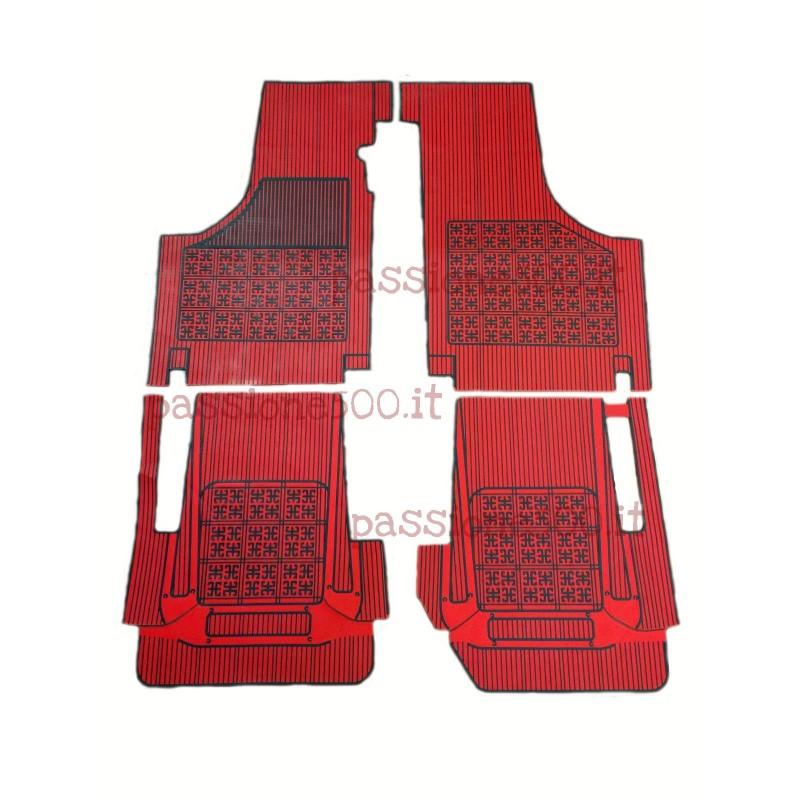 SET OF ADDITIONAL RUBBER CARPET FLOOR MATS IN RED COLOR FIAT 500 D F L R