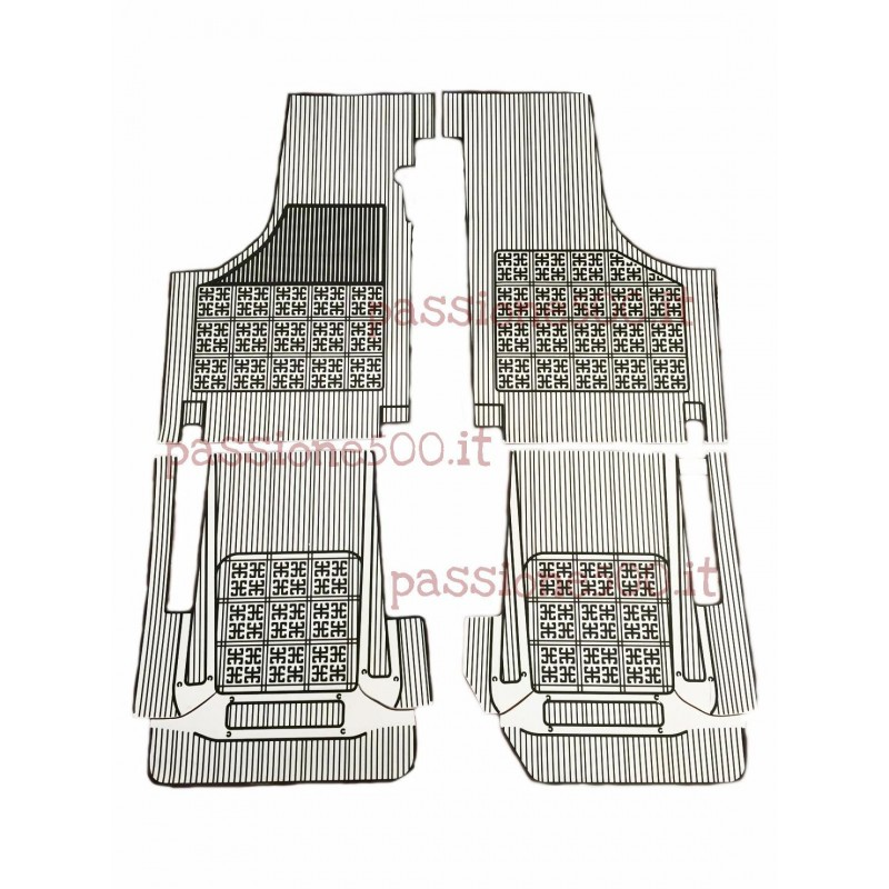 SET OF ADDITIONAL RUBBER CARPET FLOOR MATS IN WHITE COLOR FIAT 500 D F L R