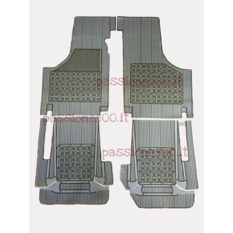 SET OF ADDITIONAL RUBBER CARPET FLOOR MATS IN GREY COLOR FIAT 500 D F L R