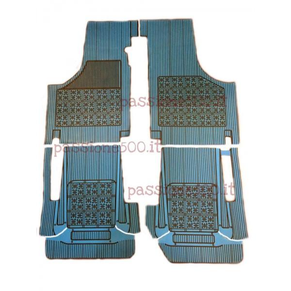 SET OF ADDITIONAL RUBBER CARPET FLOOR MATS IN BLUE COLOR FIAT 500 D F L R