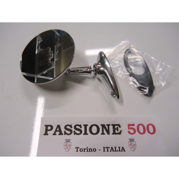 ROUND EXTERNAL CHROME MIRROR - METAL BODY & SCREW FIXING -  FIAT 500
