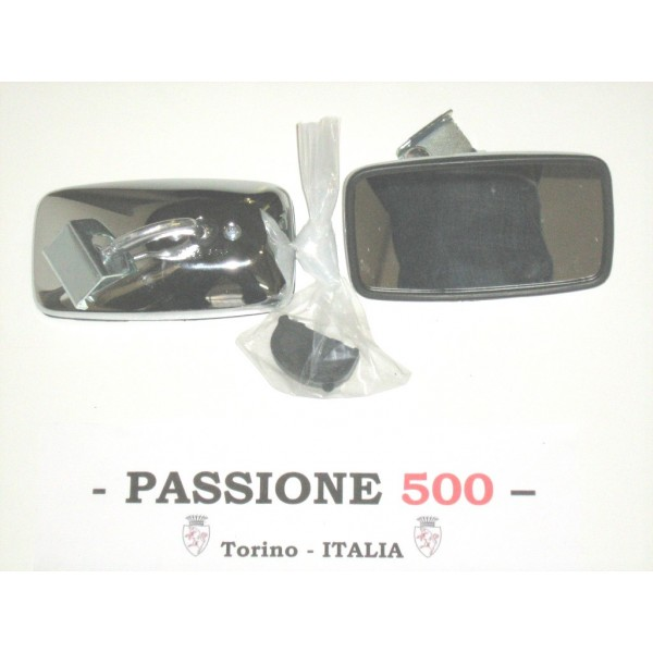 EXTERNAL RECTANGULAR CHROME MIRROR - METAL BODY & CLAMP FIXING -  FIAT 500
